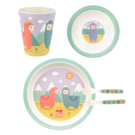 Little Llama Childs Bamboo Feeding Set